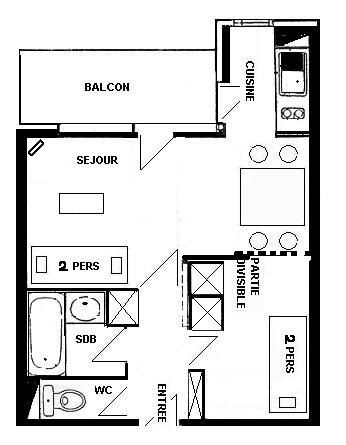 Property map Location Studio apartment 57992 La Plagne