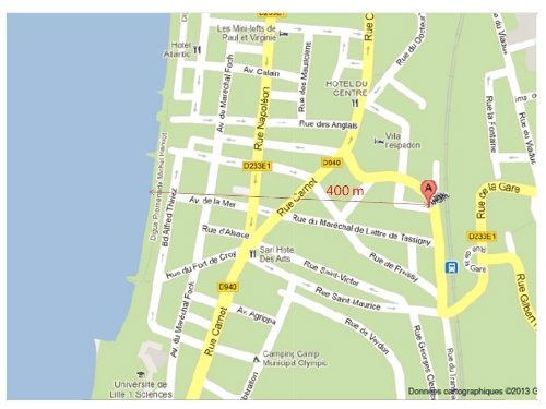 Area map Location Self-catering property 95721 Wimereux