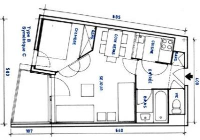 Property map Location Studio apartment 92355 Les Menuires