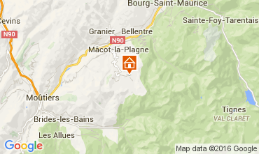 Map La Plagne Studio apartment 48754